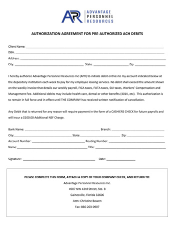 Download Client ACH Agreement Form