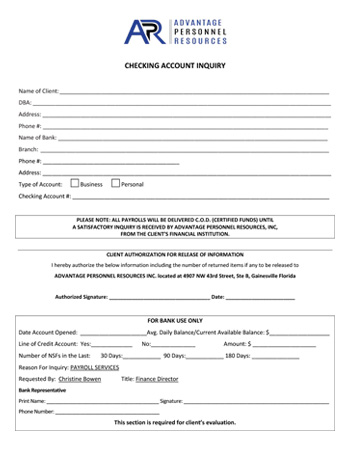 Client Checking Account Inquiry Form