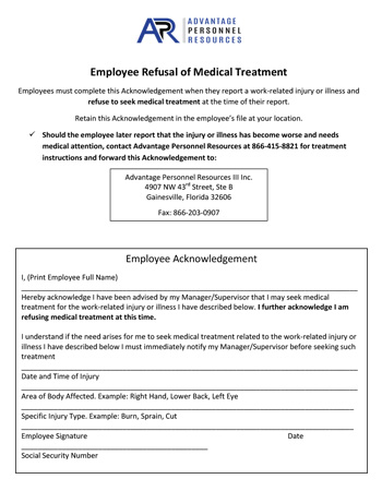 Download Medical Treatment Refusal Form